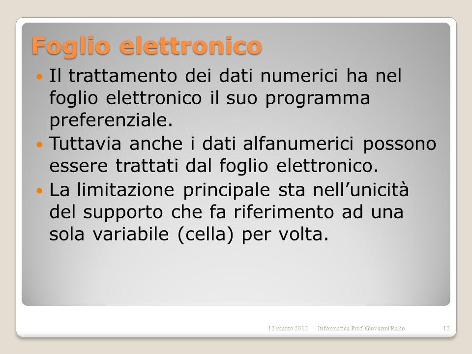 Foglio elettronico Il trattamento dei dati numerici ha nel foglio elettronico il suo programma preferenziale. Tuttavia anche i dati alfanumerici posso