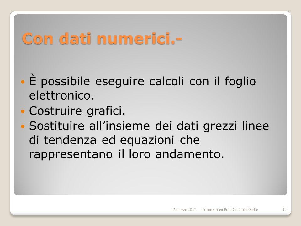 Con dati numerici.- È possibile eseguire calcoli con il foglio elettronico. Costruire grafici. Sostituire allinsieme dei dati grezzi linee di tendenza
