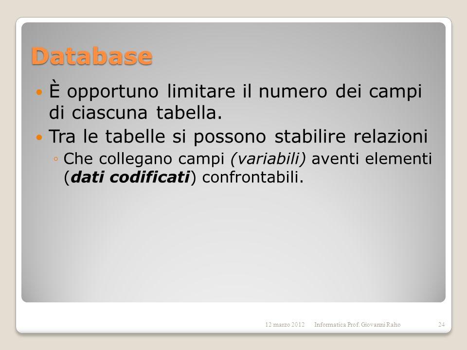 Database È opportuno limitare il numero dei campi di ciascuna tabella. Tra le tabelle si possono stabilire relazioni Che collegano campi (variabili) a