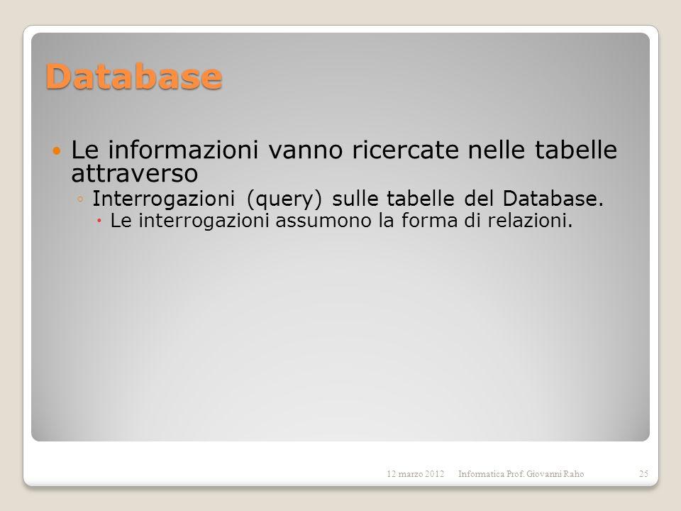 Database Le informazioni vanno ricercate nelle tabelle attraverso Interrogazioni (query) sulle tabelle del Database. Le interrogazioni assumono la for