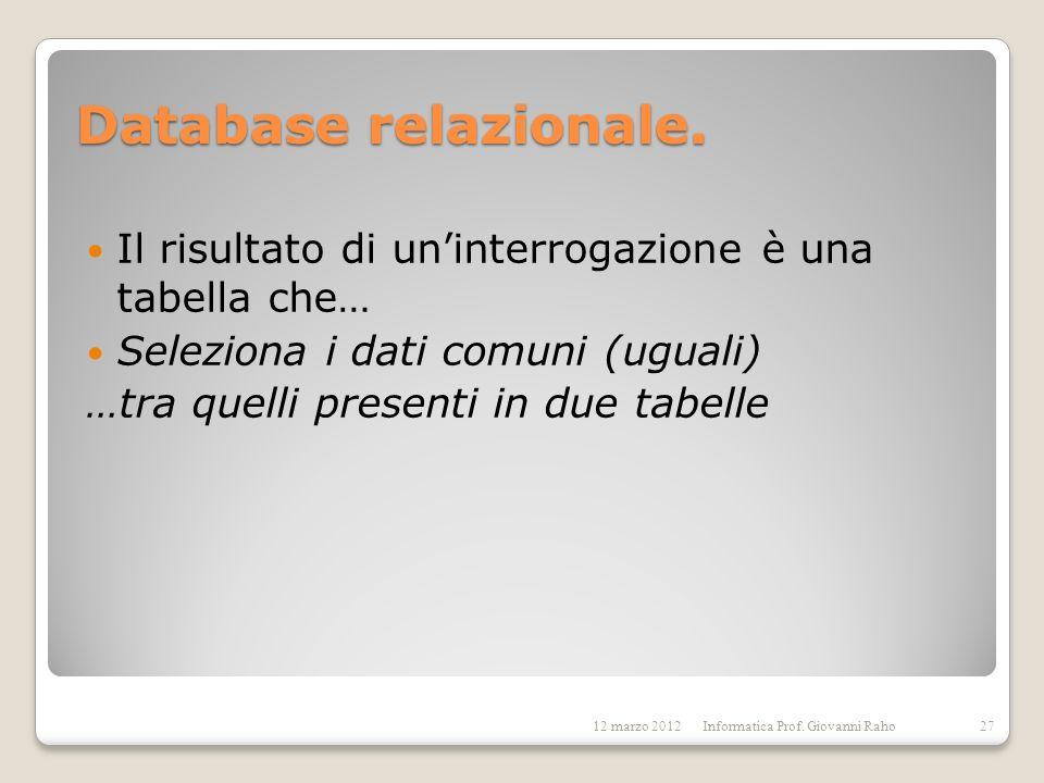 Database relazionale. Il risultato di uninterrogazione è una tabella che… Seleziona i dati comuni (uguali) …tra quelli presenti in due tabelle 12 marz