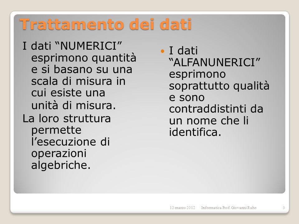 Trattamento dei dati I dati NUMERICI esprimono quantità e si basano su una scala di misura in cui esiste una unità di misura. La loro struttura permet