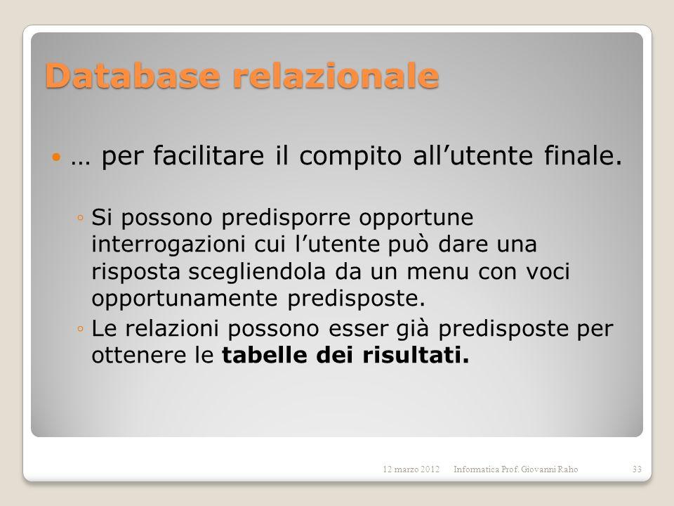 Database relazionale … per facilitare il compito allutente finale. Si possono predisporre opportune interrogazioni cui lutente può dare una risposta s
