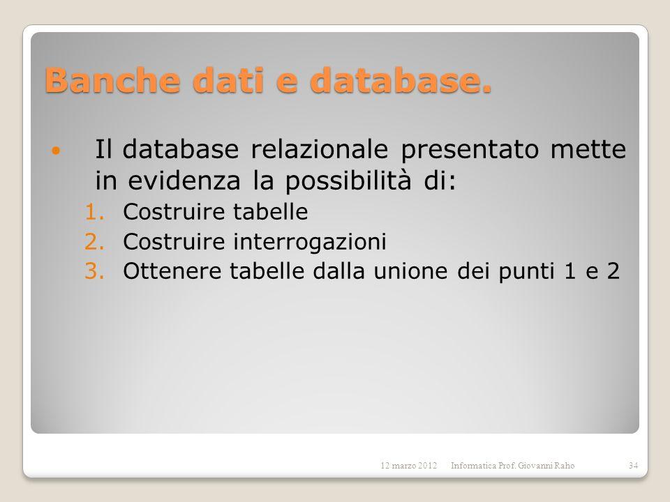 Banche dati e database. Il database relazionale presentato mette in evidenza la possibilità di: 1.Costruire tabelle 2.Costruire interrogazioni 3.Otten