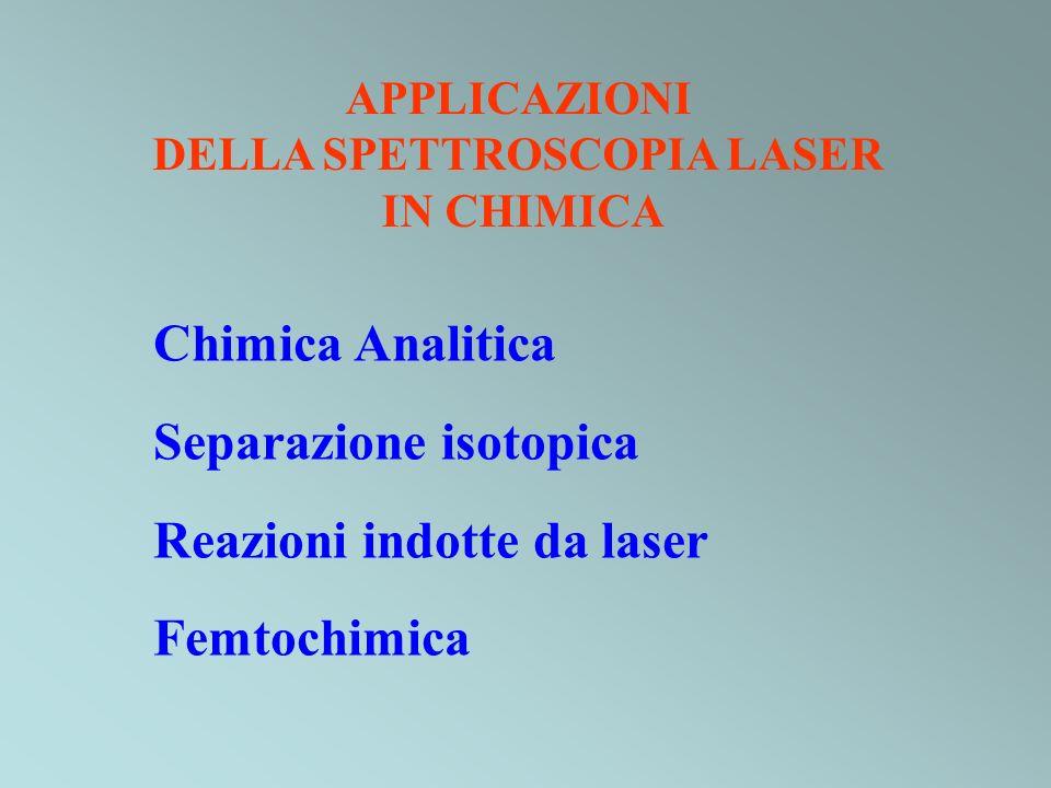 APPLICAZIONI DELLA SPETTROSCOPIA LASER IN CHIMICA Chimica Analitica Separazione isotopica Reazioni indotte da laser Femtochimica