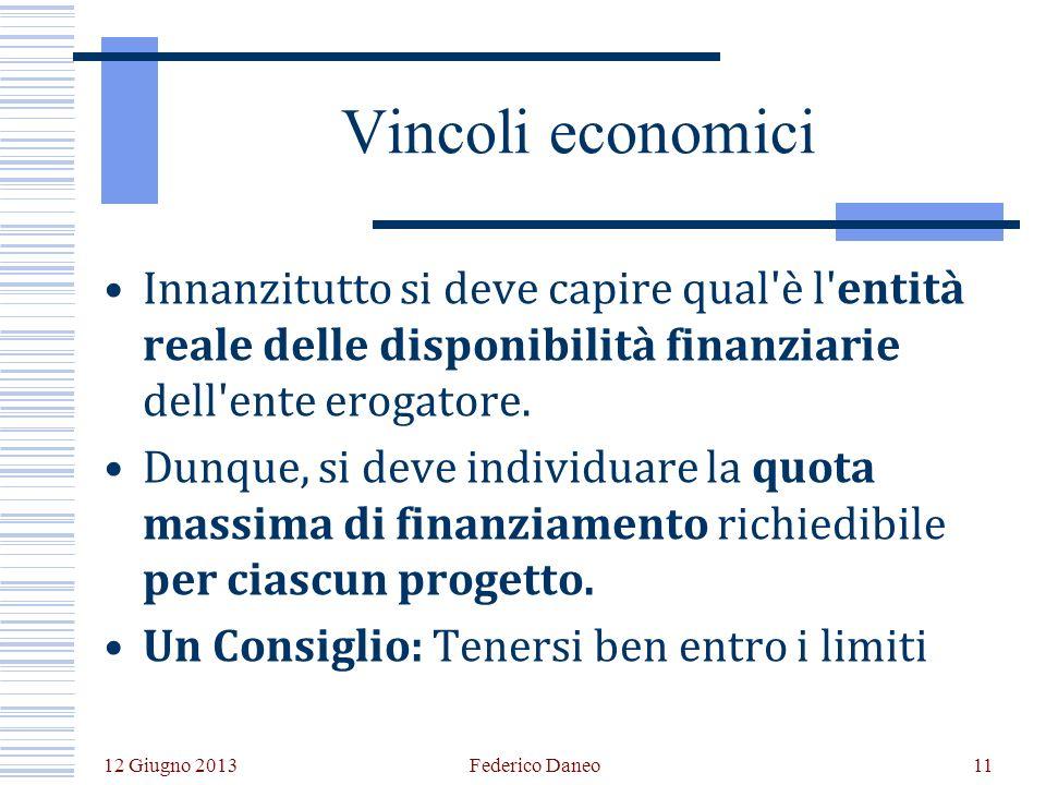 12 Giugno 2013 Federico Daneo11 Vincoli economici Innanzitutto si deve capire qual è l entità reale delle disponibilità finanziarie dell ente erogatore.