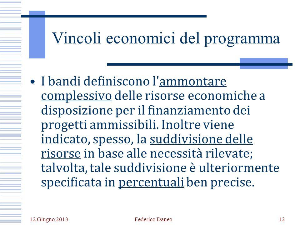 12 Giugno 2013 Federico Daneo12 Vincoli economici del programma I bandi definiscono l ammontare complessivo delle risorse economiche a disposizione per il finanziamento dei progetti ammissibili.