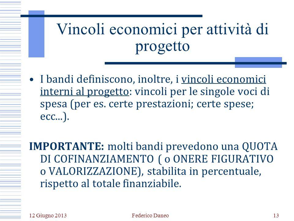 12 Giugno 2013 Federico Daneo13 Vincoli economici per attività di progetto I bandi definiscono, inoltre, i vincoli economici interni al progetto: vincoli per le singole voci di spesa (per es.