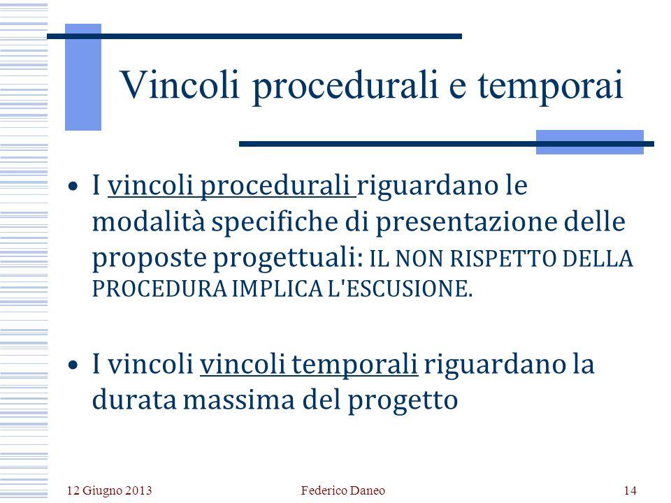 12 Giugno 2013 Federico Daneo14 Vincoli procedurali e temporai I vincoli procedurali riguardano le modalità specifiche di presentazione delle proposte progettuali: IL NON RISPETTO DELLA PROCEDURA IMPLICA L ESCUSIONE.