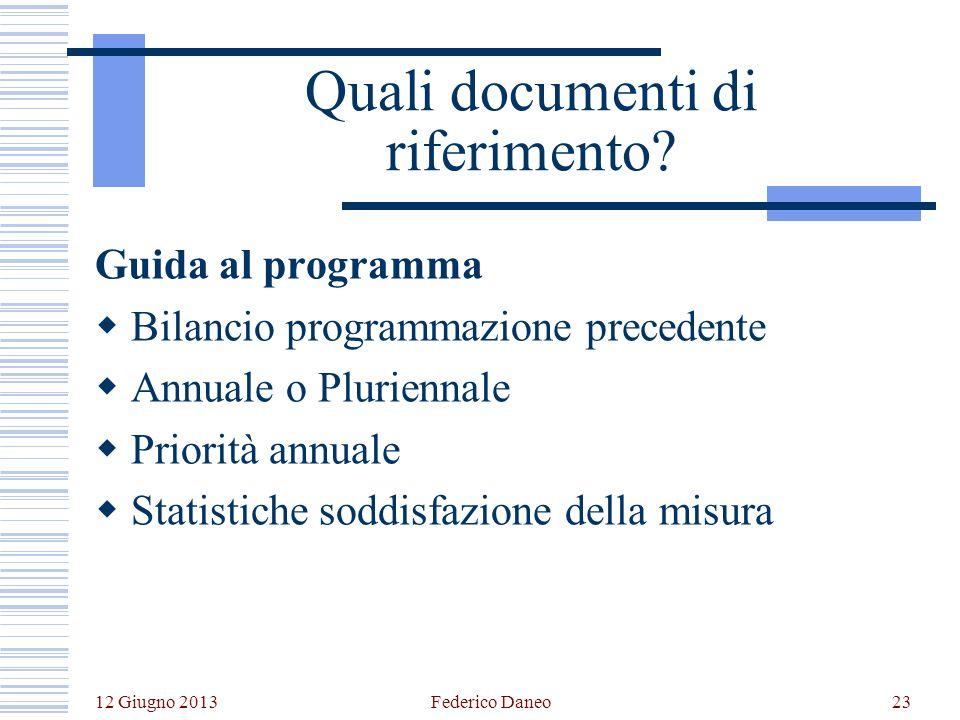 12 Giugno 2013 Federico Daneo23 Quali documenti di riferimento.