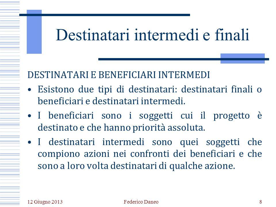 12 Giugno 2013 Federico Daneo8 Destinatari intermedi e finali DESTINATARI E BENEFICIARI INTERMEDI Esistono due tipi di destinatari: destinatari finali o beneficiari e destinatari intermedi.