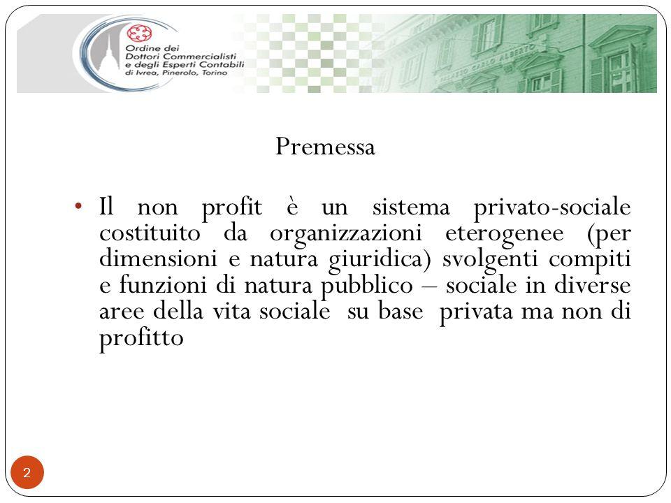 2 Premessa Il non profit è un sistema privato-sociale costituito da organizzazioni eterogenee (per dimensioni e natura giuridica) svolgenti compiti e
