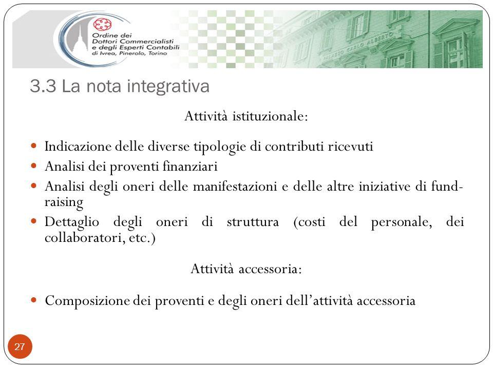 3.3 La nota integrativa 27 Attività istituzionale: Indicazione delle diverse tipologie di contributi ricevuti Analisi dei proventi finanziari Analisi