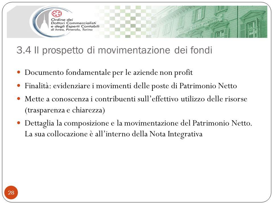 3.4 Il prospetto di movimentazione dei fondi 28 Documento fondamentale per le aziende non profit Finalità: evidenziare i movimenti delle poste di Patr