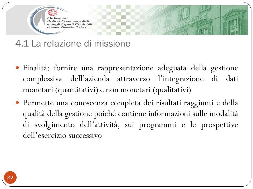 4.1 La relazione di missione 32 Finalità: fornire una rappresentazione adeguata della gestione complessiva dellazienda attraverso lintegrazione di dat