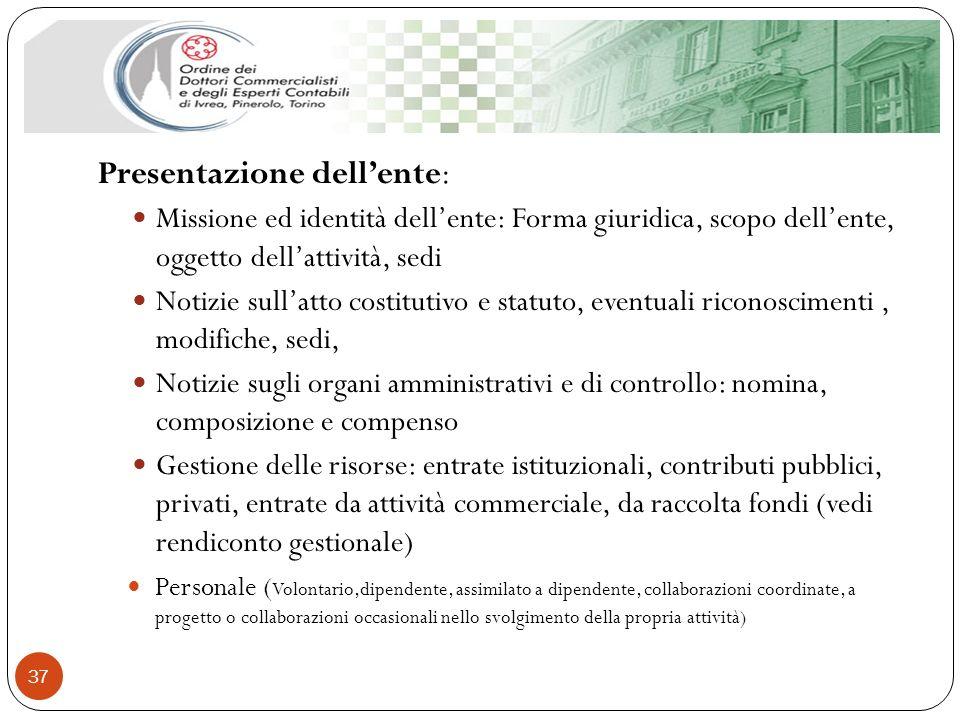 Presentazione dellente: Missione ed identità dellente: Forma giuridica, scopo dellente, oggetto dellattività, sedi Notizie sullatto costitutivo e stat