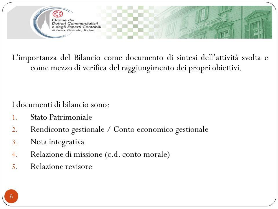 6 Limportanza del Bilancio come documento di sintesi dellattività svolta e come mezzo di verifica del raggiungimento dei propri obiettivi. I documenti