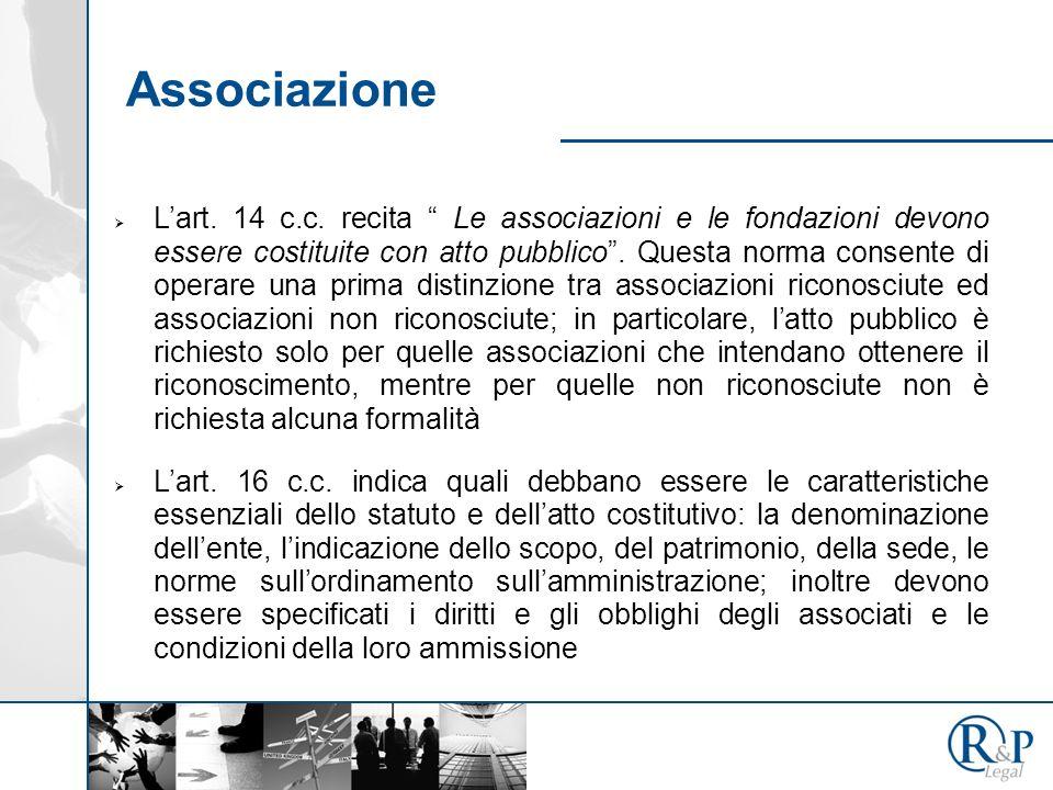 Lart.14 c.c. recita Le associazioni e le fondazioni devono essere costituite con atto pubblico.
