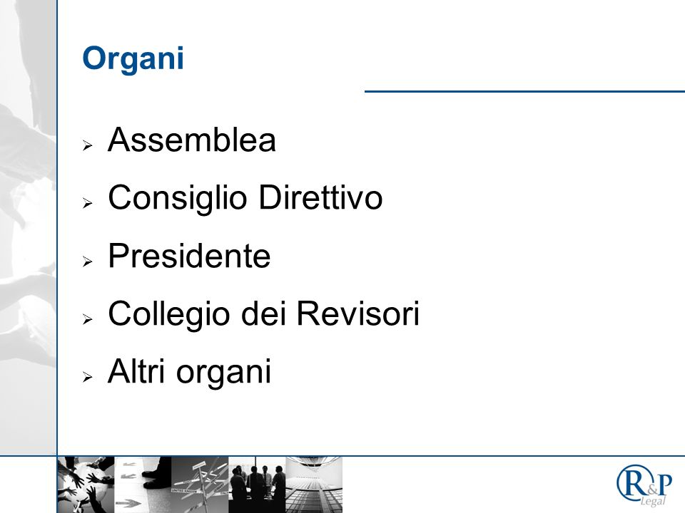 Organi Assemblea Consiglio Direttivo Presidente Collegio dei Revisori Altri organi