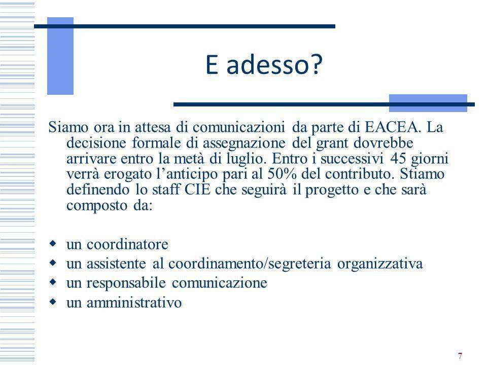 7 E adesso. Siamo ora in attesa di comunicazioni da parte di EACEA.