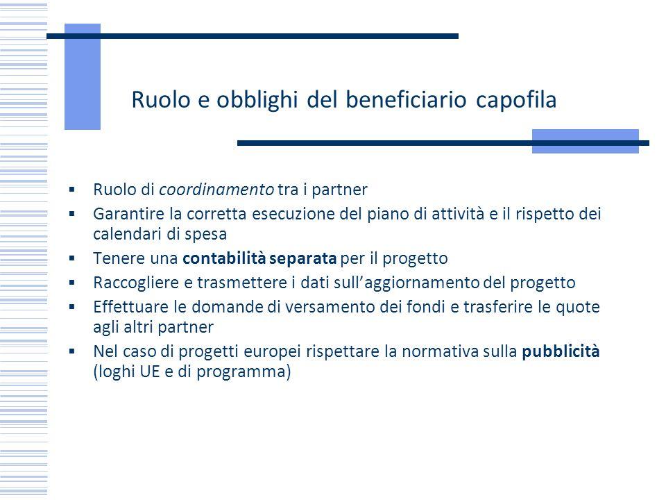 Ruolo e obblighi del beneficiario capofila Ruolo di coordinamento tra i partner Garantire la corretta esecuzione del piano di attività e il rispetto d