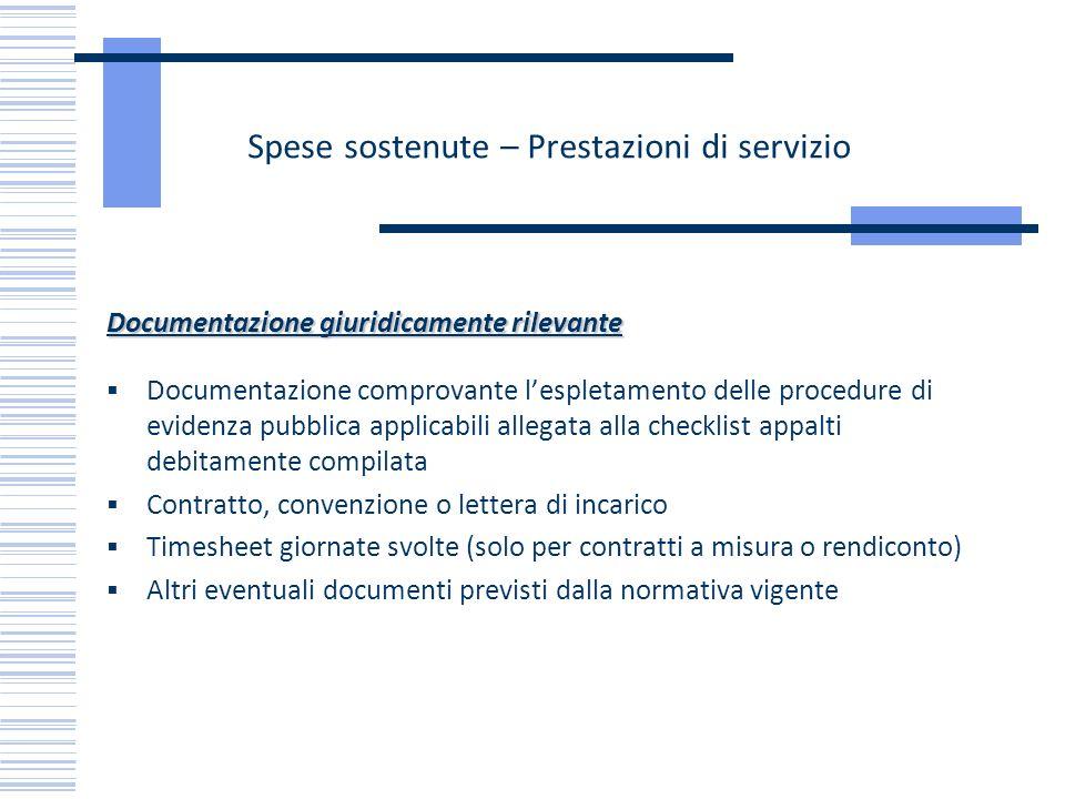 Spese sostenute – Prestazioni di servizio Documentazione giuridicamente rilevante Documentazione comprovante lespletamento delle procedure di evidenza