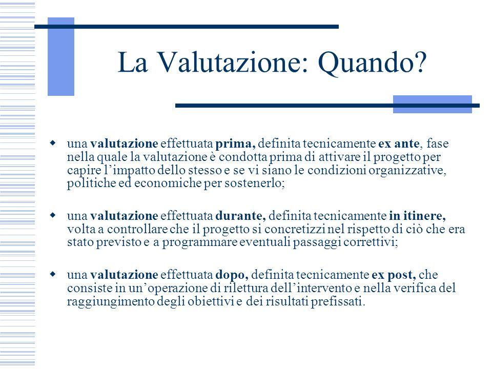 La Valutazione: Quando? una valutazione effettuata prima, definita tecnicamente ex ante, fase nella quale la valutazione è condotta prima di attivare