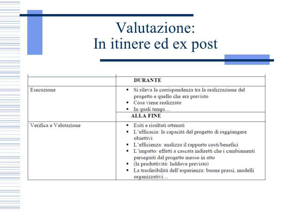 Valutazione: In itinere ed ex post