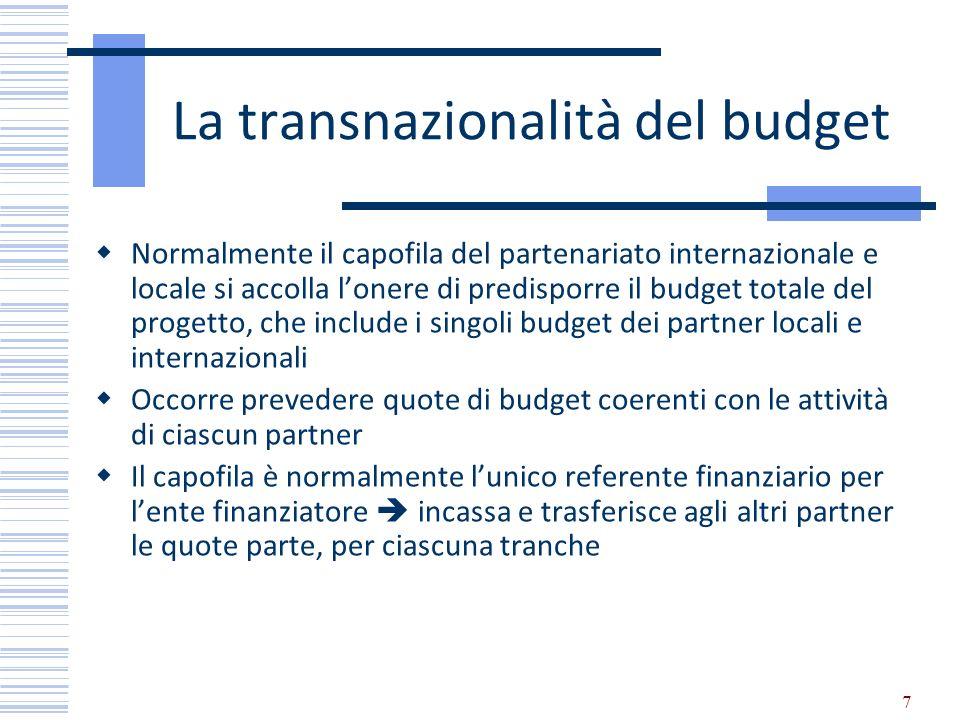 7 La transnazionalità del budget Normalmente il capofila del partenariato internazionale e locale si accolla lonere di predisporre il budget totale de