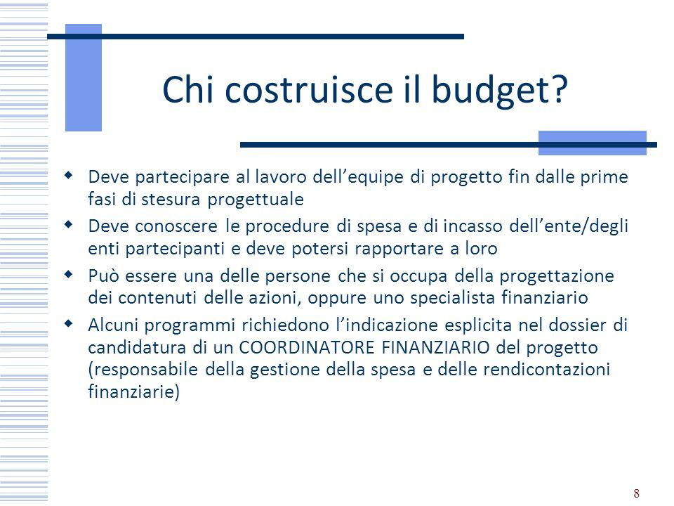 8 Chi costruisce il budget? Deve partecipare al lavoro dellequipe di progetto fin dalle prime fasi di stesura progettuale Deve conoscere le procedure