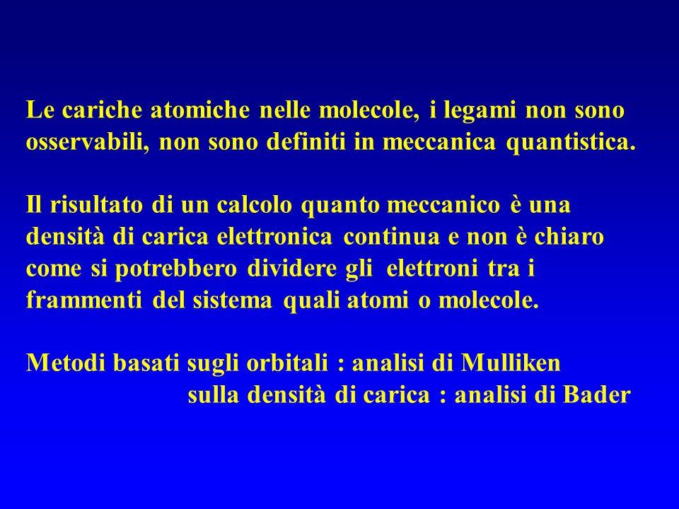 Le cariche atomiche nelle molecole, i legami non sono osservabili, non sono definiti in meccanica quantistica. Il risultato di un calcolo quanto mecca