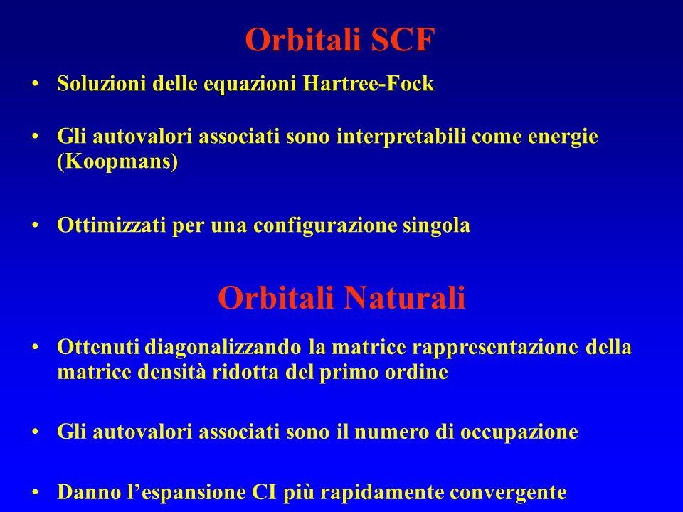 Orbitali SCF Soluzioni delle equazioni Hartree-Fock Gli autovalori associati sono interpretabili come energie (Koopmans) Ottimizzati per una configura