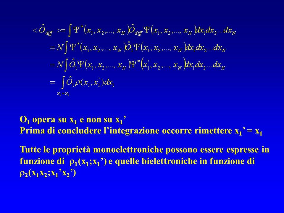O 1 opera su x 1 e non su x 1 Prima di concludere lintegrazione occorre rimettere x 1 = x 1 Tutte le proprietà monoelettroniche possono essere espress