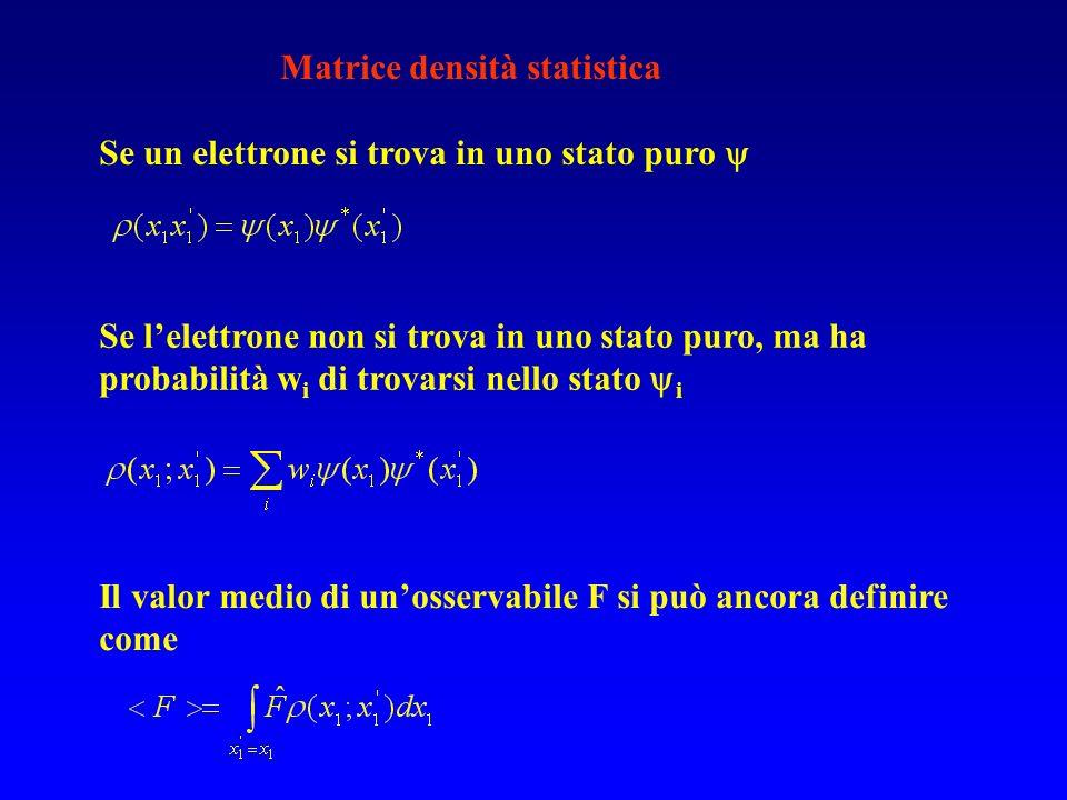 Matrice densità statistica Se un elettrone si trova in uno stato puro Se lelettrone non si trova in uno stato puro, ma ha probabilità w i di trovarsi
