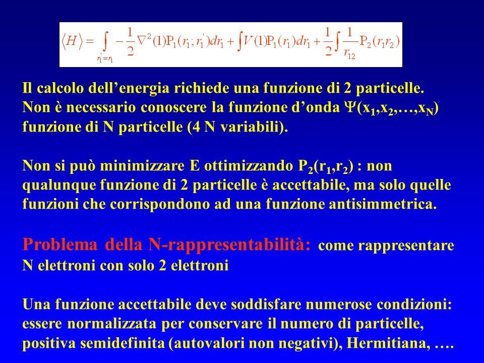 Il calcolo dellenergia richiede una funzione di 2 particelle. Non è necessario conoscere la funzione donda (x 1,x 2,…,x N ) funzione di N particelle (