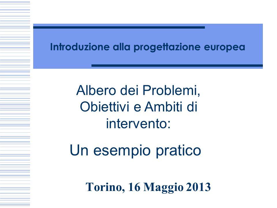 Introduzione alla progettazione europea Torino, 16 Maggio 2013 Albero dei Problemi, Obiettivi e Ambiti di intervento: Un esempio pratico