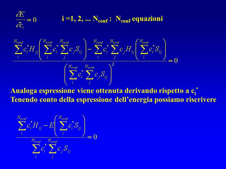 i =1, 2,... N conf : N conf equazioni Analoga espressione viene ottenuta derivando rispetto a c i * Tenendo conto della espressione dellenergia possia