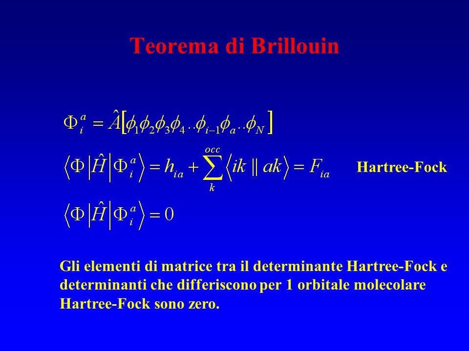 Teorema di Brillouin Gli elementi di matrice tra il determinante Hartree-Fock e determinanti che differiscono per 1 orbitale molecolare Hartree-Fock s