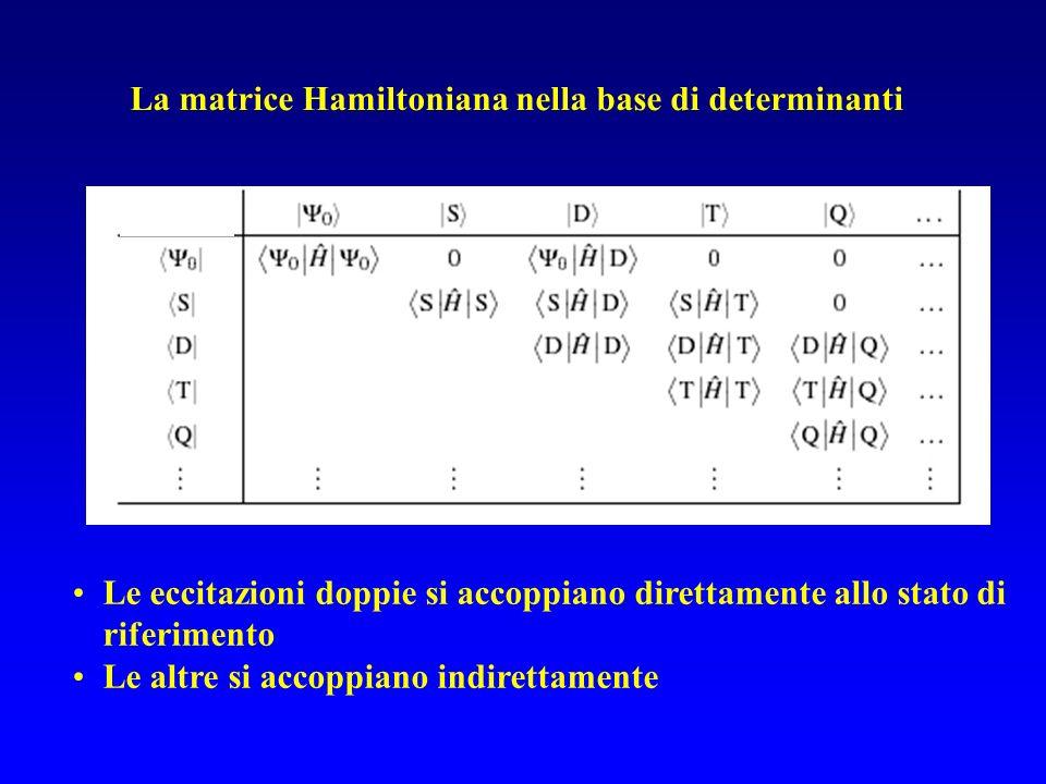 Le eccitazioni doppie si accoppiano direttamente allo stato di riferimento Le altre si accoppiano indirettamente La matrice Hamiltoniana nella base di
