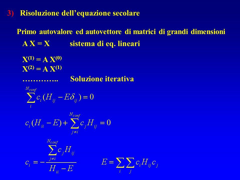 A X = X sistema di eq. lineari X (1) = A X (0) X (2) = A X (1) ………….. Soluzione iterativa 3) Risoluzione dellequazione secolare Primo autovalore ed au