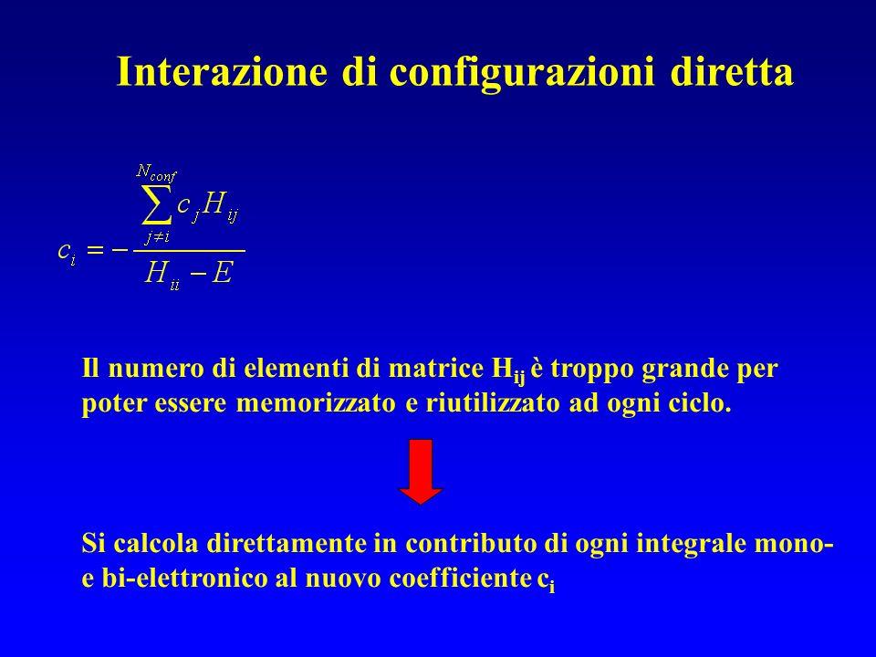 Interazione di configurazioni diretta Il numero di elementi di matrice H ij è troppo grande per poter essere memorizzato e riutilizzato ad ogni ciclo.