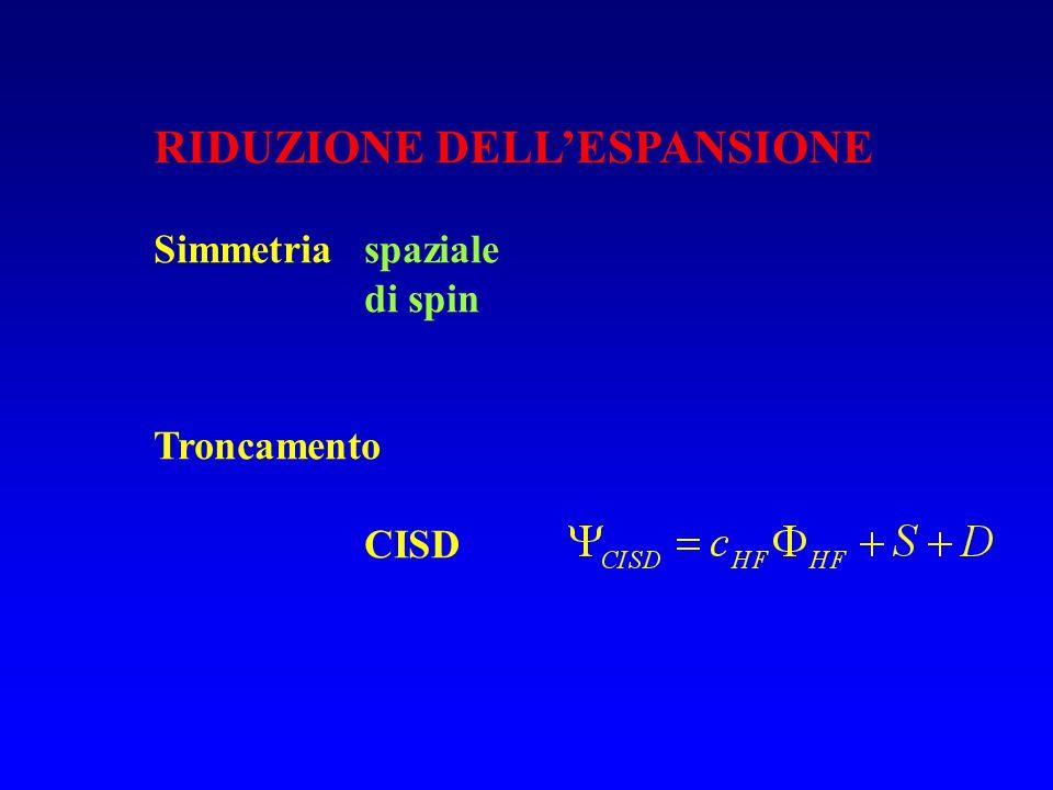 RIDUZIONE DELLESPANSIONE Simmetria spaziale di spin Troncamento CISD