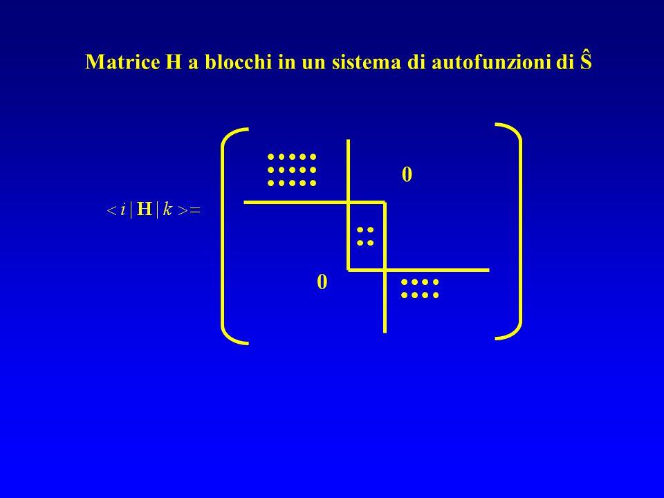 Matrice H a blocchi in un sistema di autofunzioni di Ŝ 0 0