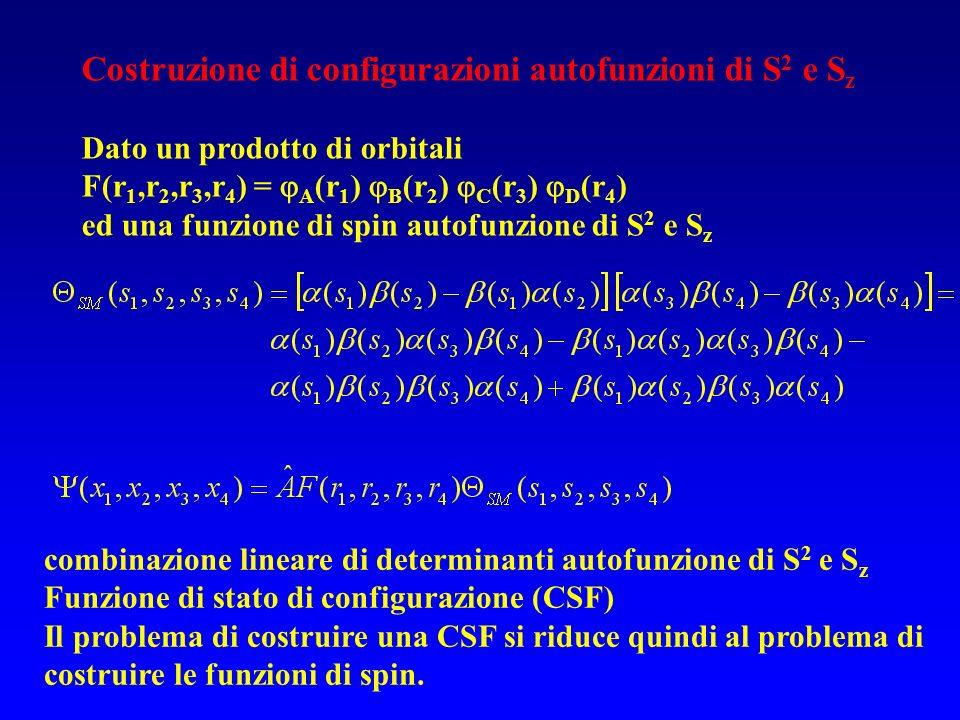 Costruzione di configurazioni autofunzioni di S 2 e S z Dato un prodotto di orbitali F(r 1,r 2,r 3,r 4 ) = A (r 1 ) B (r 2 ) C (r 3 ) D (r 4 ) ed una