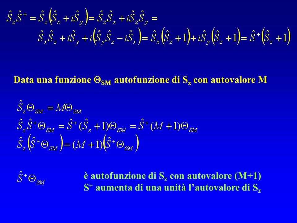 Data una funzione SM autofunzione di S z con autovalore M è autofunzione di S z con autovalore (M+1) S + aumenta di una unità lautovalore di S z
