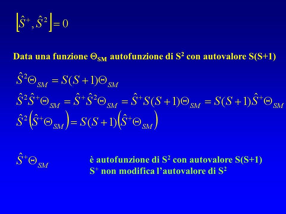 Data una funzione SM autofunzione di S 2 con autovalore S(S+1) è autofunzione di S 2 con autovalore S(S+1) S + non modifica lautovalore di S 2