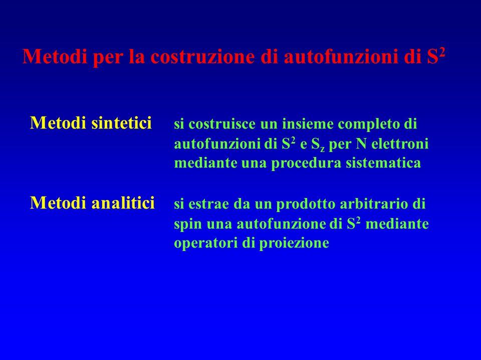 Metodi per la costruzione di autofunzioni di S 2 Metodi sintetici si costruisce un insieme completo di autofunzioni di S 2 e S z per N elettroni media