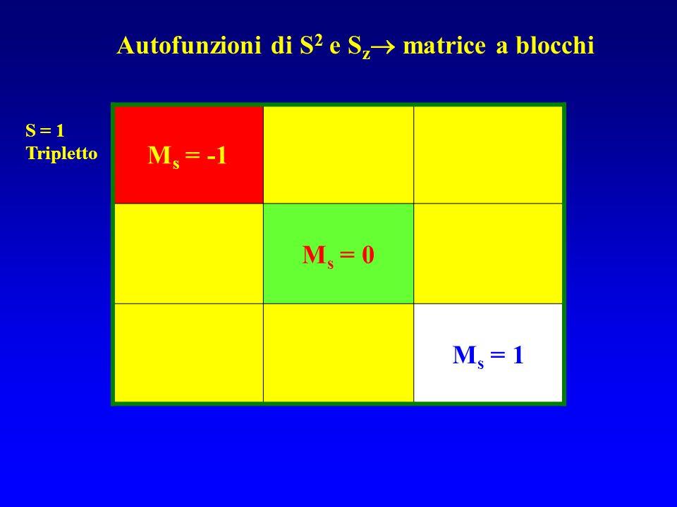 M s = -1 M s = 0 M s = 1 Autofunzioni di S 2 e S z matrice a blocchi S = 1 Tripletto