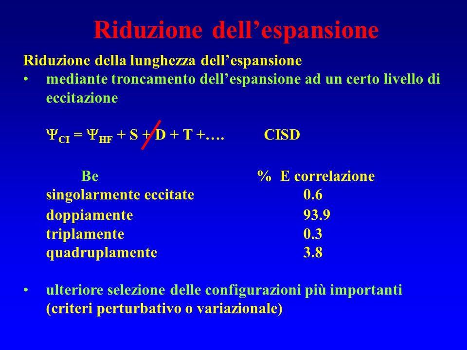 Riduzione dellespansione Riduzione della lunghezza dellespansione mediante troncamento dellespansione ad un certo livello di eccitazione CI = HF + S +