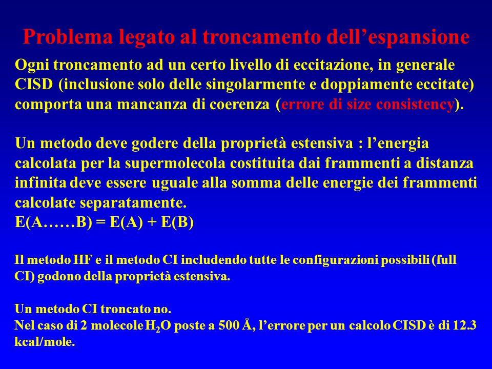 Problema legato al troncamento dellespansione Ogni troncamento ad un certo livello di eccitazione, in generale CISD (inclusione solo delle singolarmen